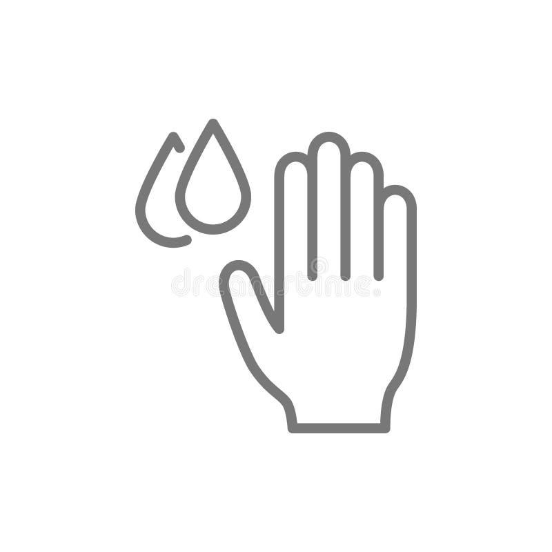 Hand med vattendroppar, hygien, tvättande handlinje symbol royaltyfri illustrationer