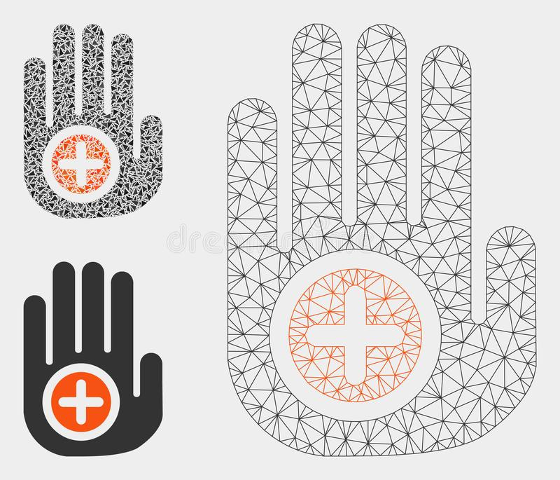 Hand Medical Marker Vector Mesh Wire Frame Model and Triangle Mosaic Icon. Mesh hand medical marker model with triangle mosaic icon. Wire frame polygonal network vector illustration