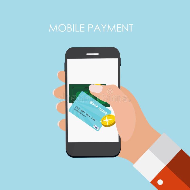 Hand met Abstracte Telefoon en Mobiel Betalingsconcept Malplaatje binnen stock illustratie
