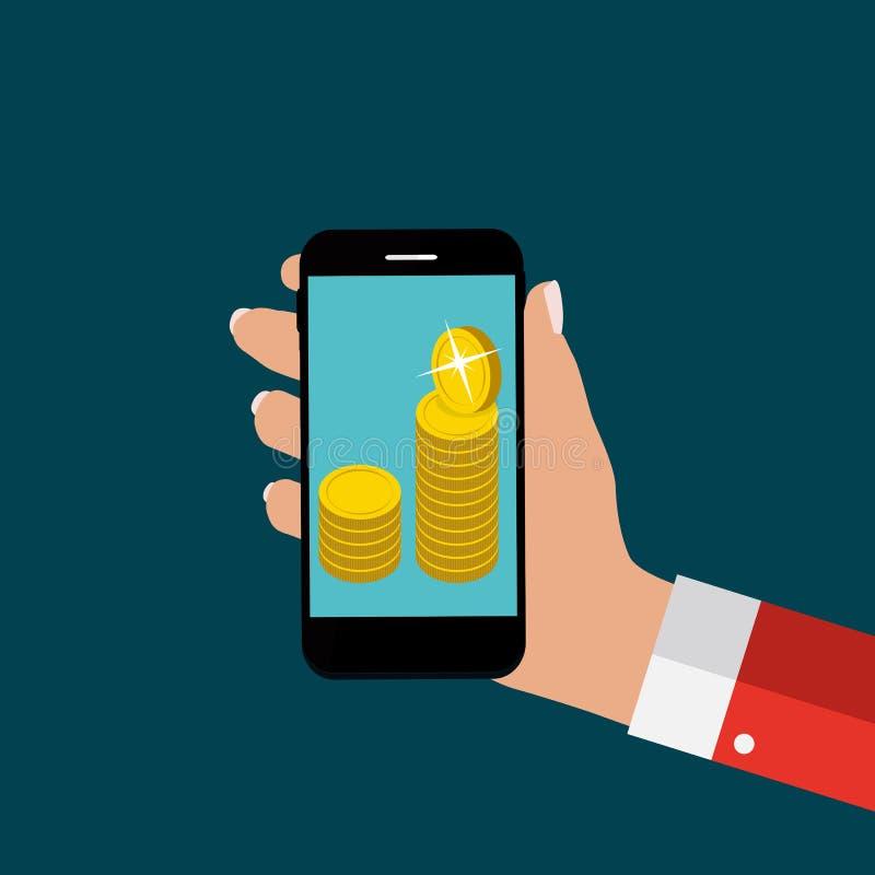 Hand met Abstracte Telefoon en Mobiel Betalingsconcept Malplaatje binnen vector illustratie