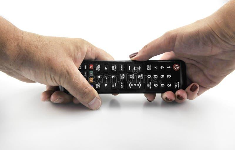 Hand met afstandsbediening richten vooruit geïsoleerd in wit 11 september, 2016 royalty-vrije stock afbeelding