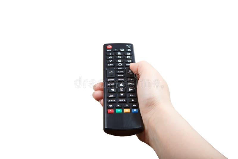 Hand met afstandsbediening vooruit geïsoleerd richten stock afbeelding