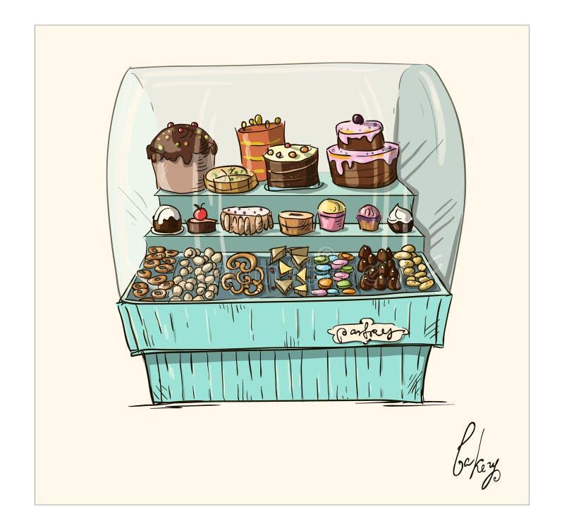 Hand met bakkerij in tegenovergestelde richting wordt getrokken die. Shopwindow met pa royalty-vrije illustratie