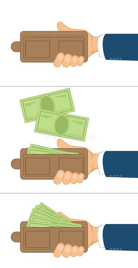 Hand met beurs vector illustratie