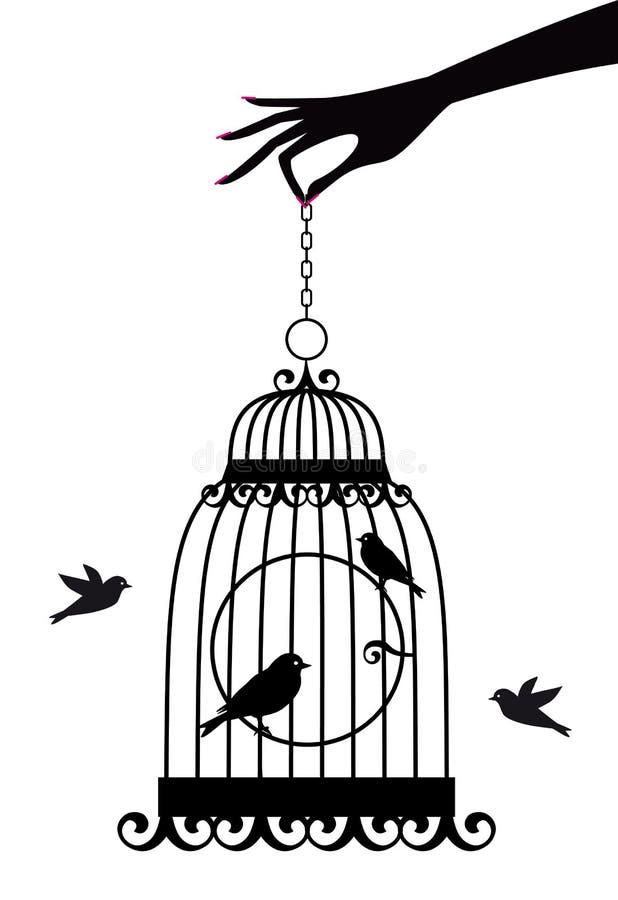 Hand met birdcage,   vector illustratie
