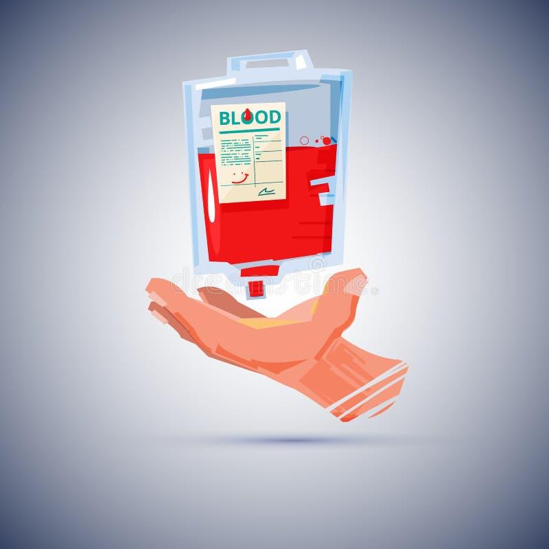 Hand met Bloedzak het bloed schenkt concept - stock illustratie