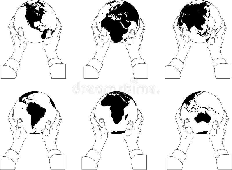 Hand met bol vector illustratie