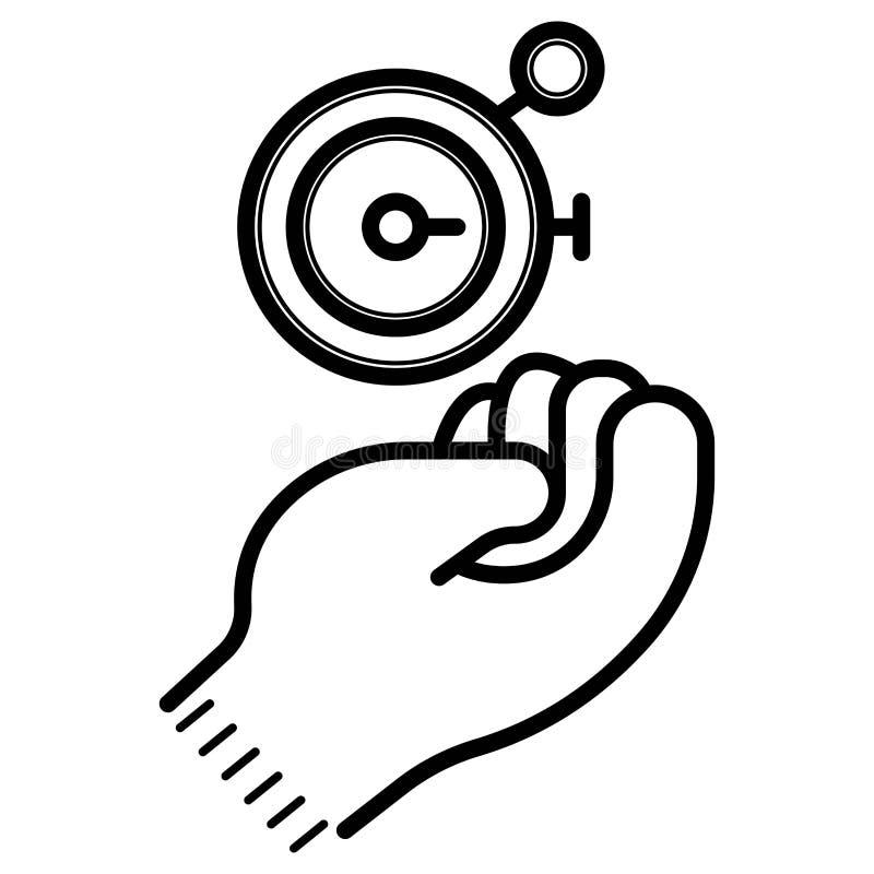 Hand met chronometerpictogram stock illustratie