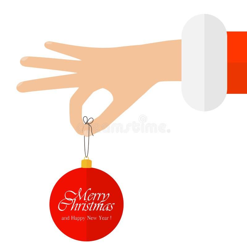 Hand met de bal van Kerstmis royalty-vrije illustratie