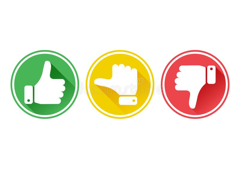 Hand met de duim in groene, gele en rode knopen Vector royalty-vrije illustratie