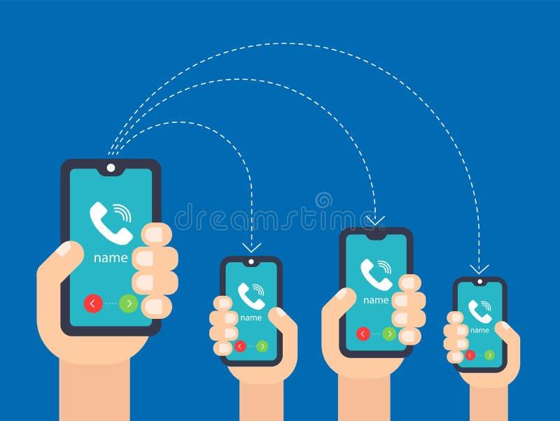 Hand met de telefoon vraag aan veelvoudige smartphones stock illustratie