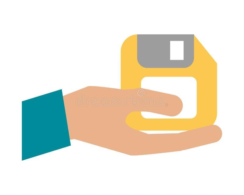 hand met diskette royalty-vrije illustratie