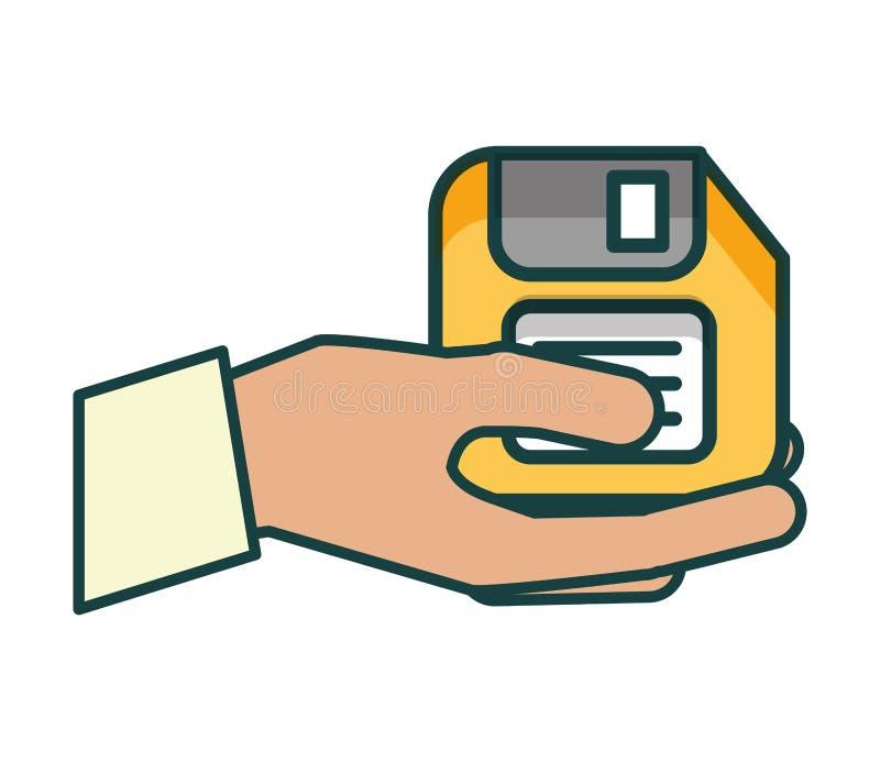 hand met diskette stock illustratie