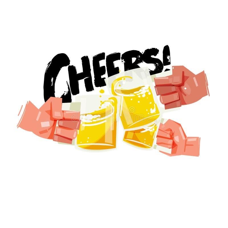 Hand met drie volledige bierkoppen De gelukkige vrienden die met biermokken clinking komen met typografisch toejuichingenconcept  royalty-vrije illustratie