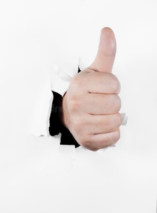 Hand met duim omhoog in goedkeuringsgebaar royalty-vrije stock foto's