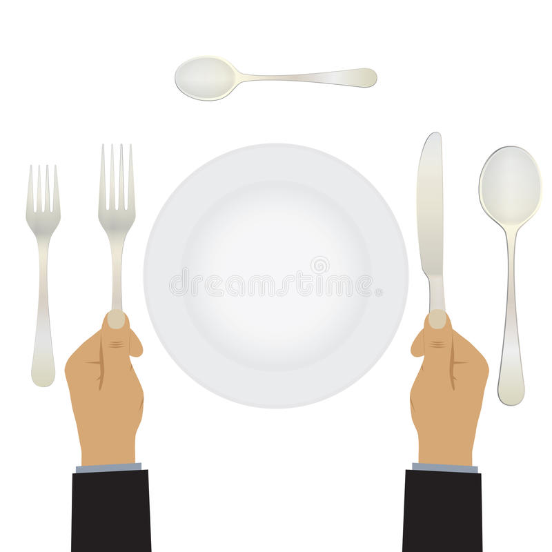 Hand met een mes en een vork vaatwerk royalty-vrije illustratie