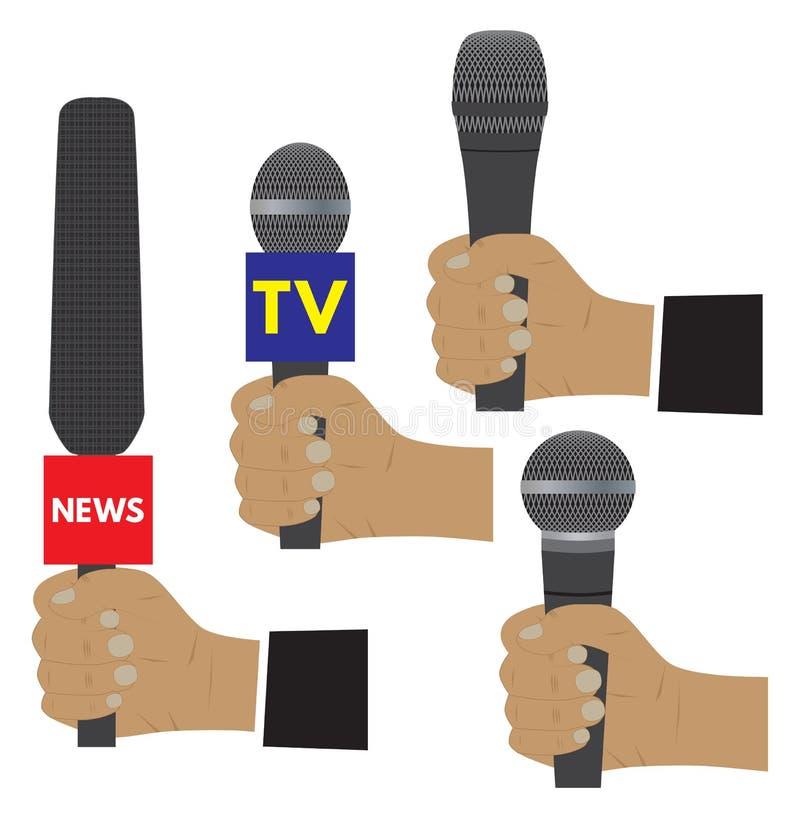 Hand met een microfoon stock illustratie