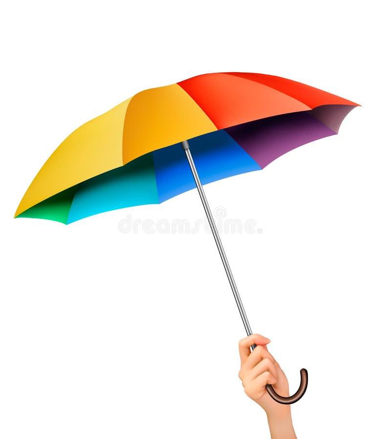 Hand met een regenboogparaplu vector illustratie