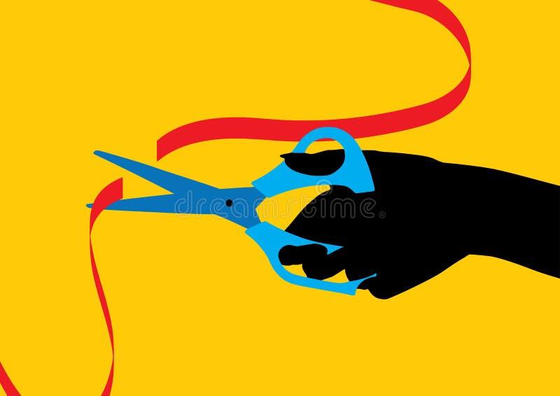 Hand met een schaar die een rood lint snijdt vector illustratie