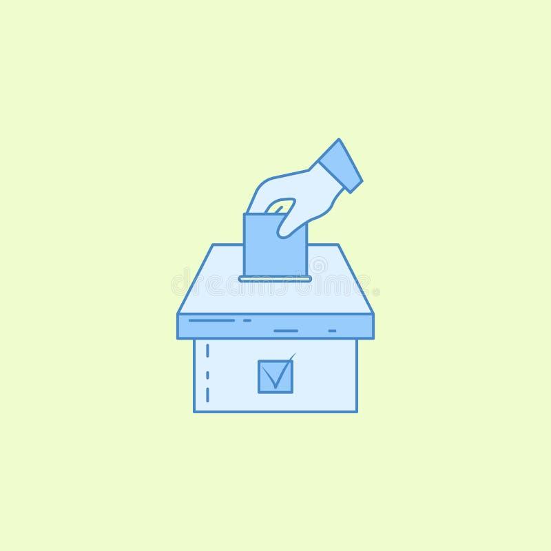 hand met een selectief blad en een het overzichtspictogram van het urngebied Element van verkiezingenpictogram voor mobiel concep vector illustratie
