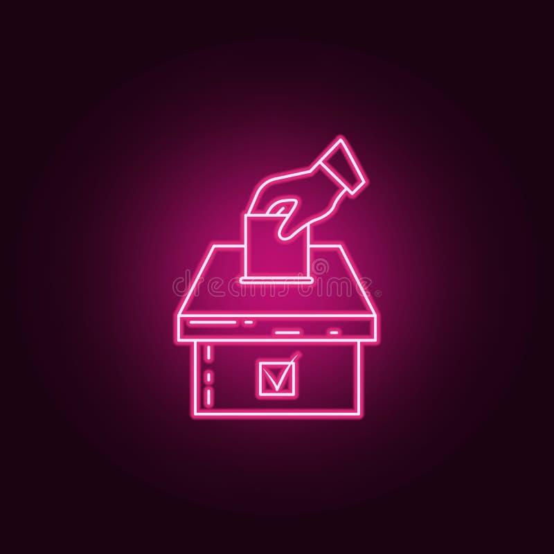 Hand met een selectief blad en een pictogram van het urnneon Elementen van verkiezingsreeks Eenvoudig pictogram voor websites, We vector illustratie