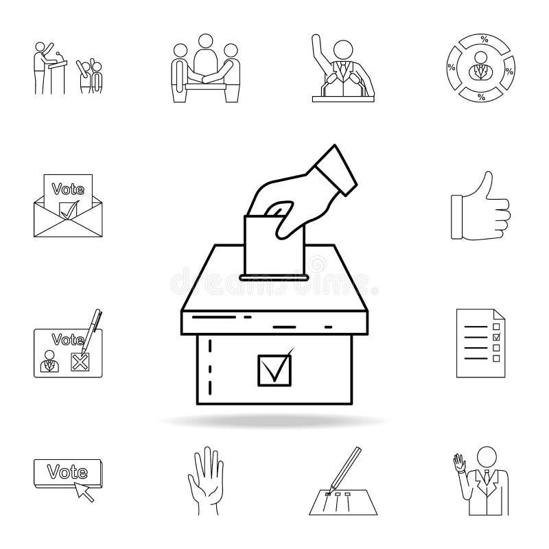 hand met een selectief blad en een urnpictogram Gedetailleerde overzichtsreeks pictogrammen van het verkiezingenelement Premie gr stock illustratie