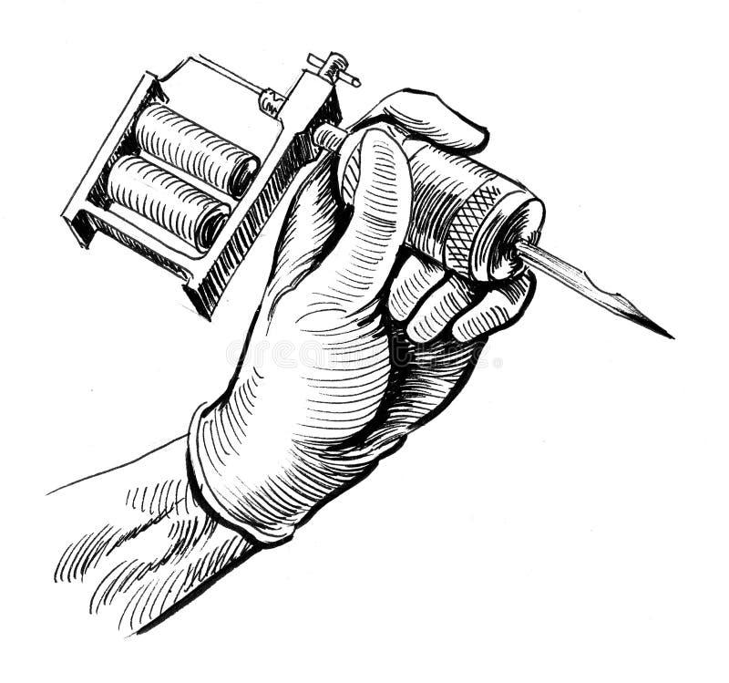 Hand met een tatoegeringsmachine vector illustratie