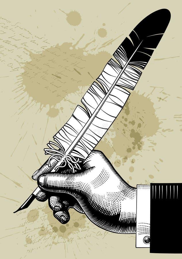 Hand met een veer stock illustratie