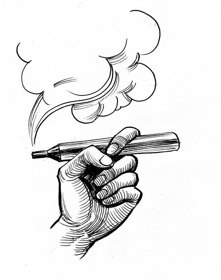 Hand met een verstuiver royalty-vrije illustratie