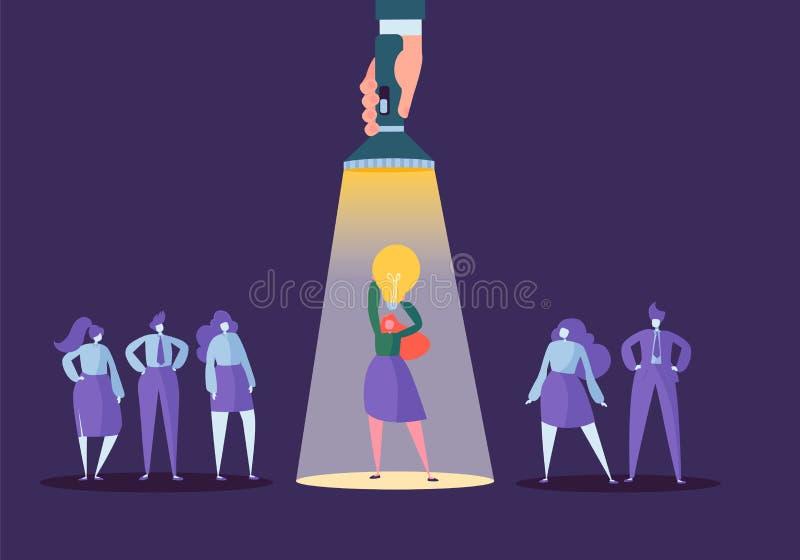 Hand met Flitslicht die op Bedrijfsvrouwenkarakter richten met Gloeilamp Rekrutering, Leidingsconcept vector illustratie