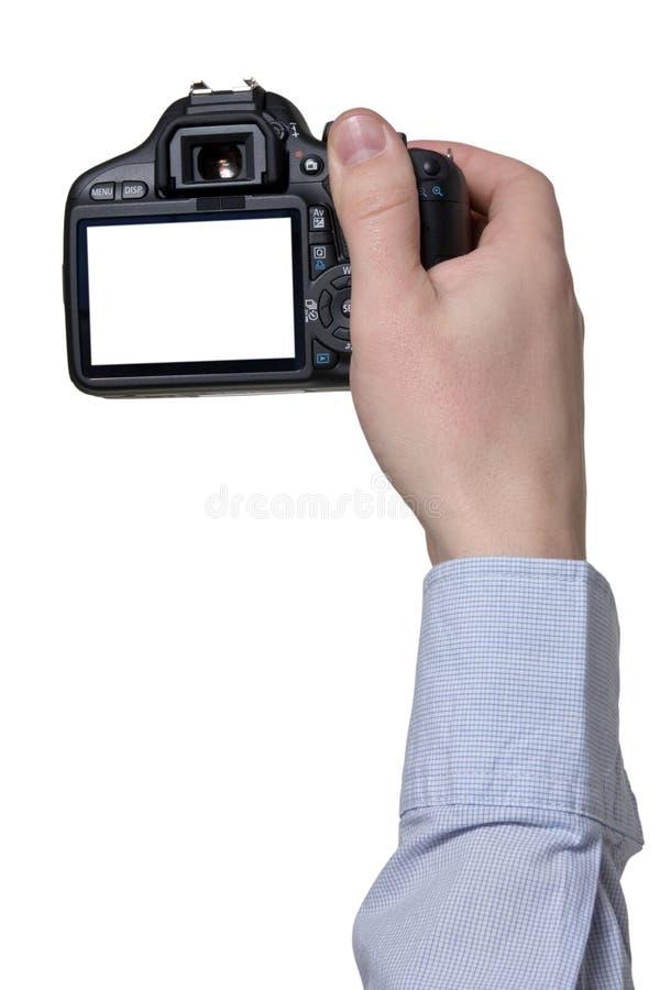 Hand met fotocamera stock afbeeldingen
