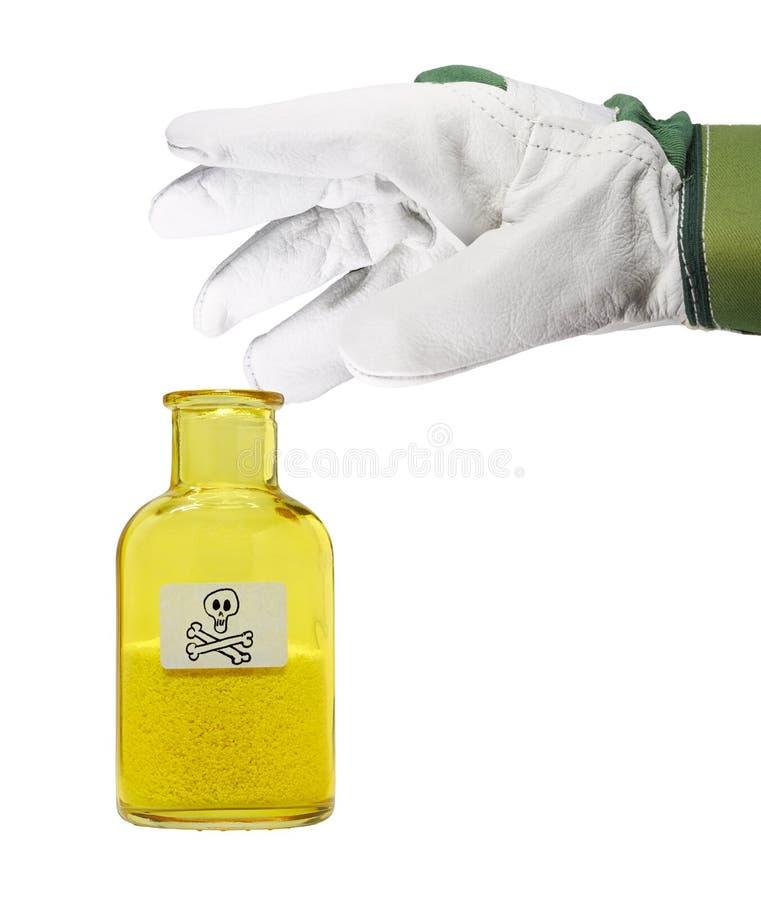 Hand met handschoen royalty-vrije stock afbeelding