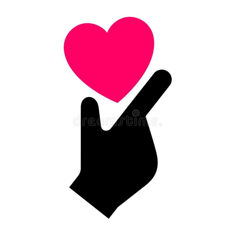 Hand met hart nieuw pictogram, tweekleurig silhouet royalty-vrije illustratie