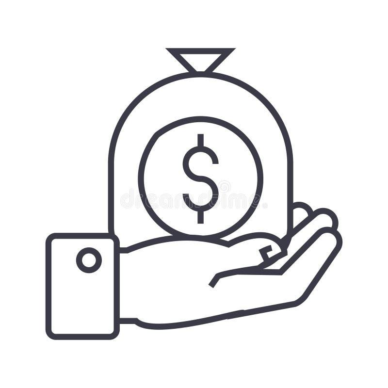 Hand met het lineaire pictogram van de geldzak, teken, symbool, vector op geïsoleerde achtergrond stock illustratie