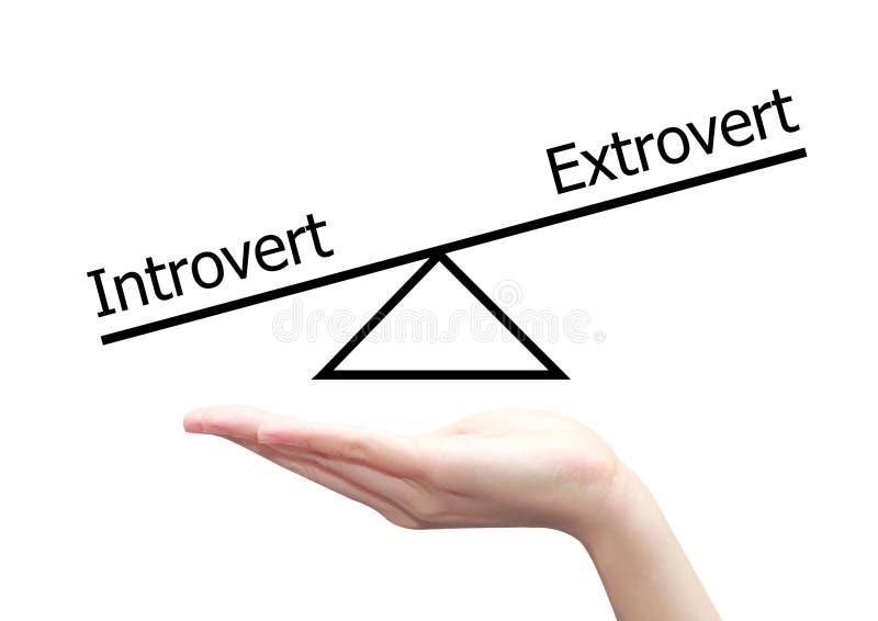 Hand met introvert en extravert concept royalty-vrije illustratie