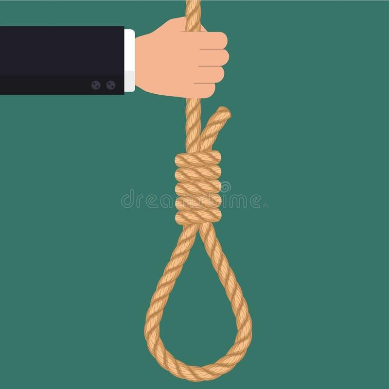 Hand met kabel hangende lijn, Zakenman Suicide stock illustratie
