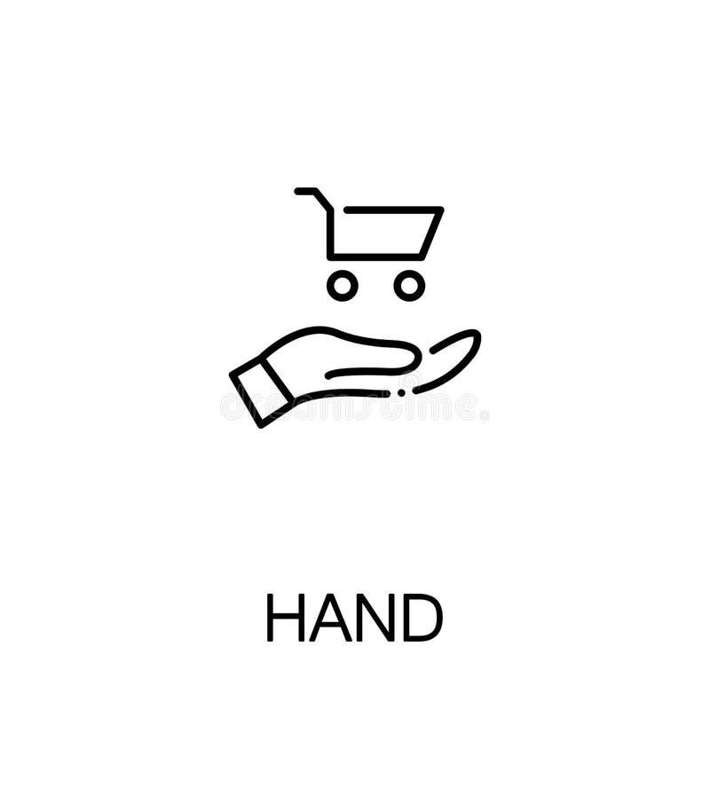 Hand met karretjepictogram royalty-vrije illustratie