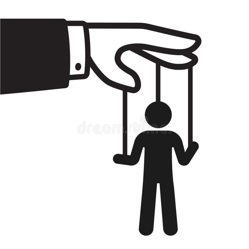 Hand met koordmarionet stock illustratie