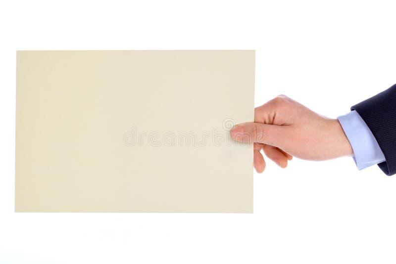 Hand met lege kaart royalty-vrije stock afbeeldingen