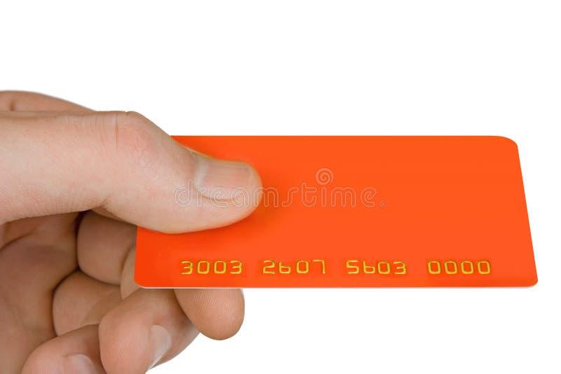 Hand met lege kortingskaart royalty-vrije stock afbeelding