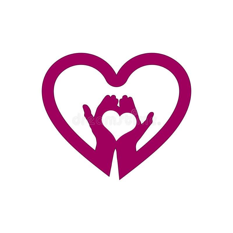 Hand met liefde in het embleem van het hartpictogram stock illustratie