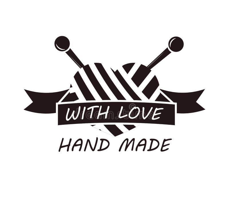 Hand - met liefde logotype ontwerp wordt gemaakt van draad en naalden die royalty-vrije illustratie