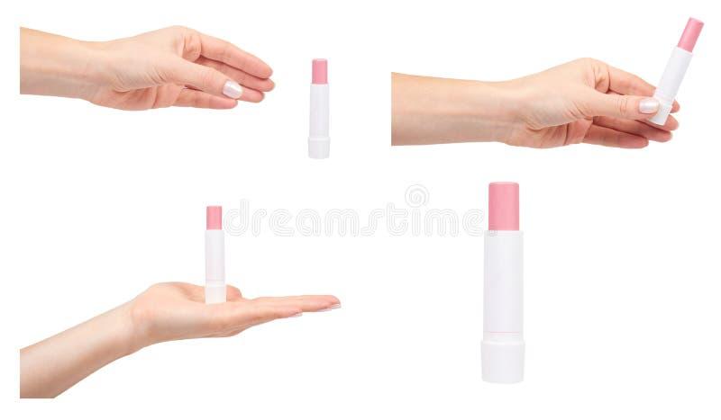Hand met lippenpommade, beschermende schoonheidsmiddelen, reeks en inzameling stock fotografie