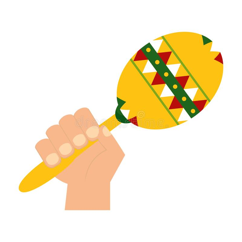 Hand met maraca stock illustratie