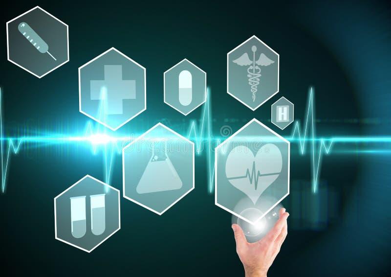 Hand met medische interface en hartslaggrafiek stock illustratie