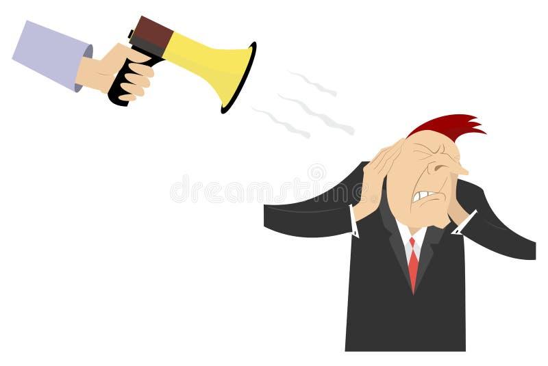 Hand met megafoon en de man die zijn oren met handenillustratie sluiten vector illustratie