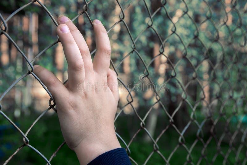 Hand met metaalnetwerk stock fotografie