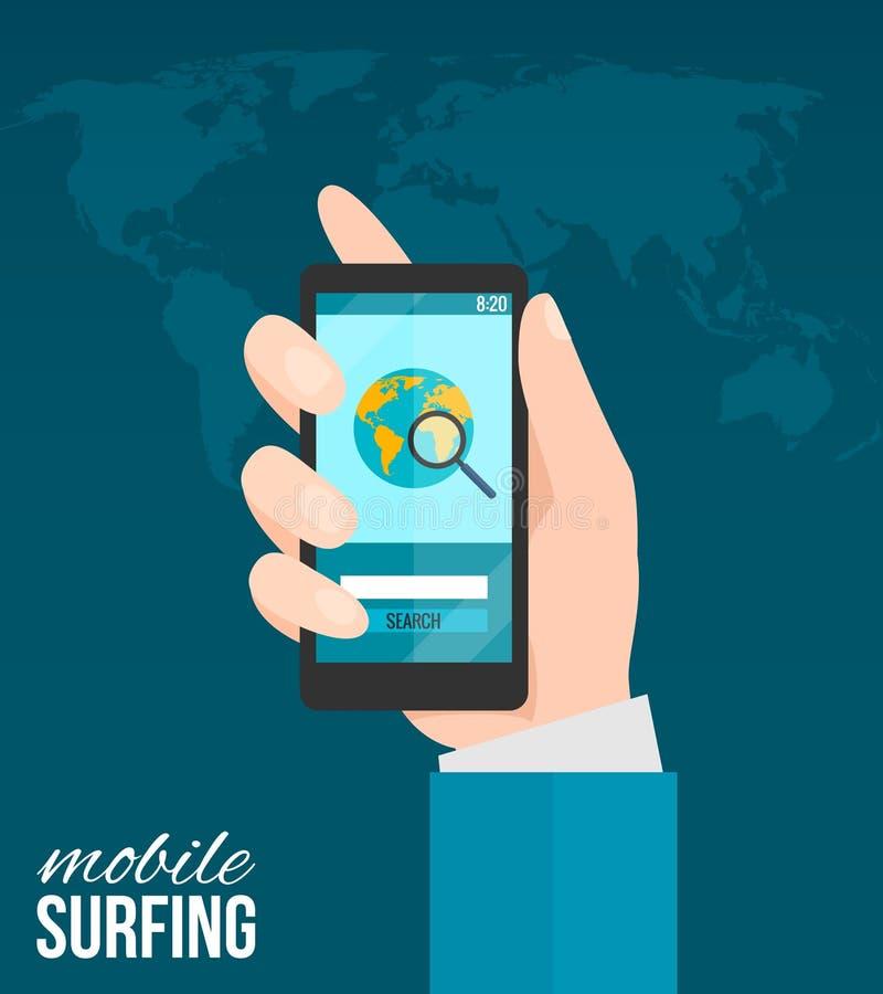 Hand met mobiele telefoon stock illustratie