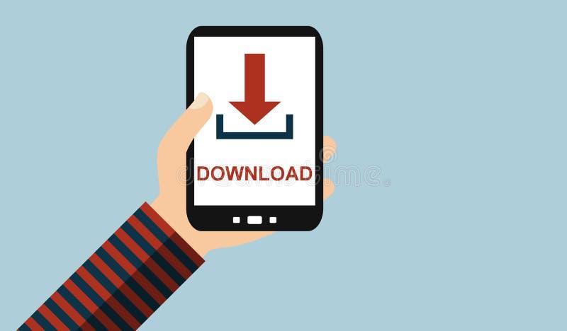 Hand met mobiele telefoon: Download - Vlak Ontwerp vector illustratie