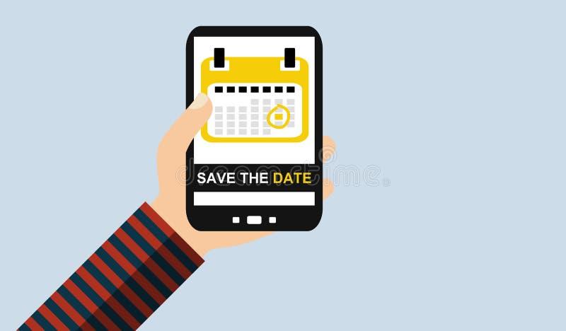 Hand met mobiele telefoon: Sparen de datum - Vlak Ontwerp stock illustratie